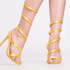 NWOT Yellow Satin Wrap Around single sole heels